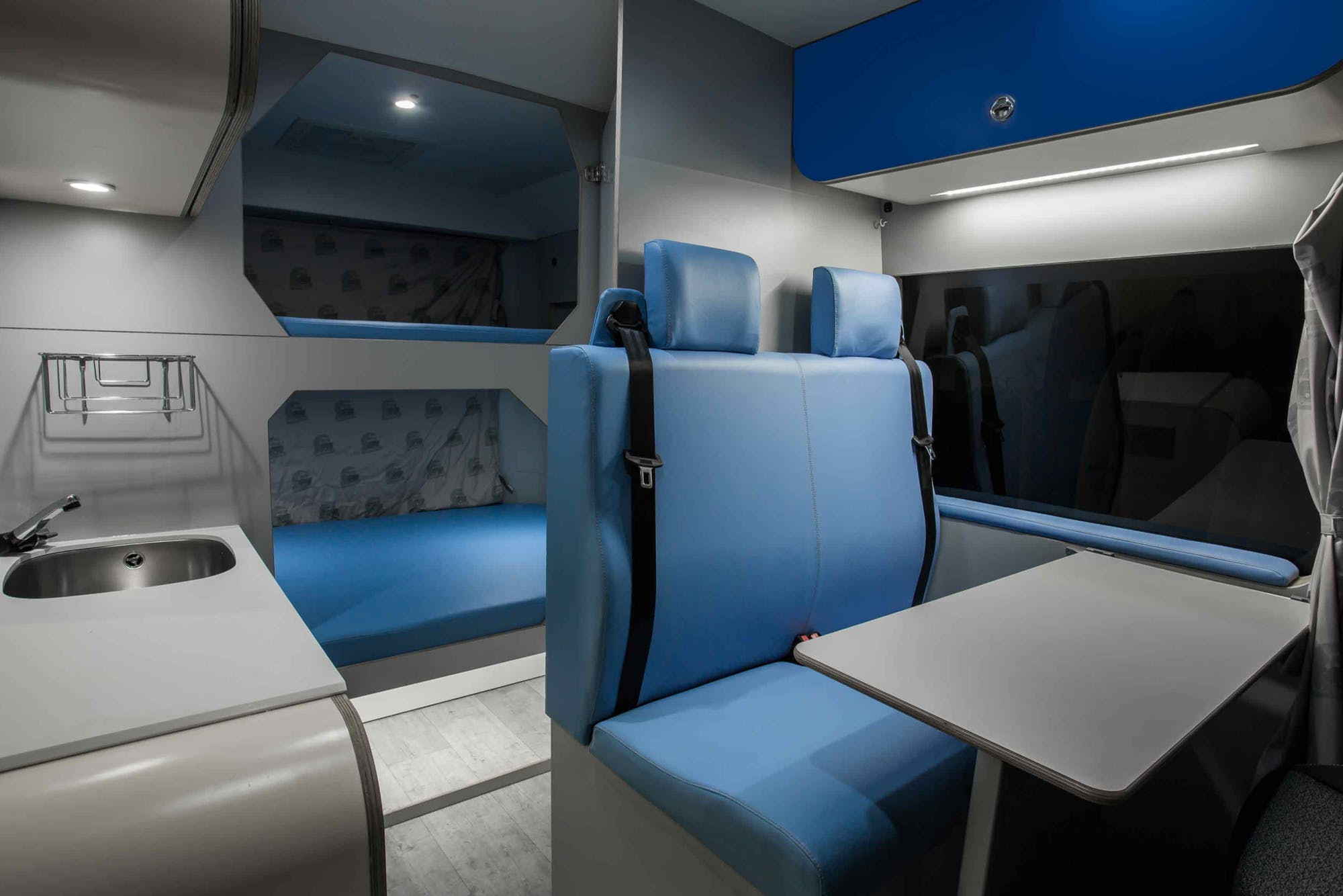 Indie Campers' Active Model inside view with beds