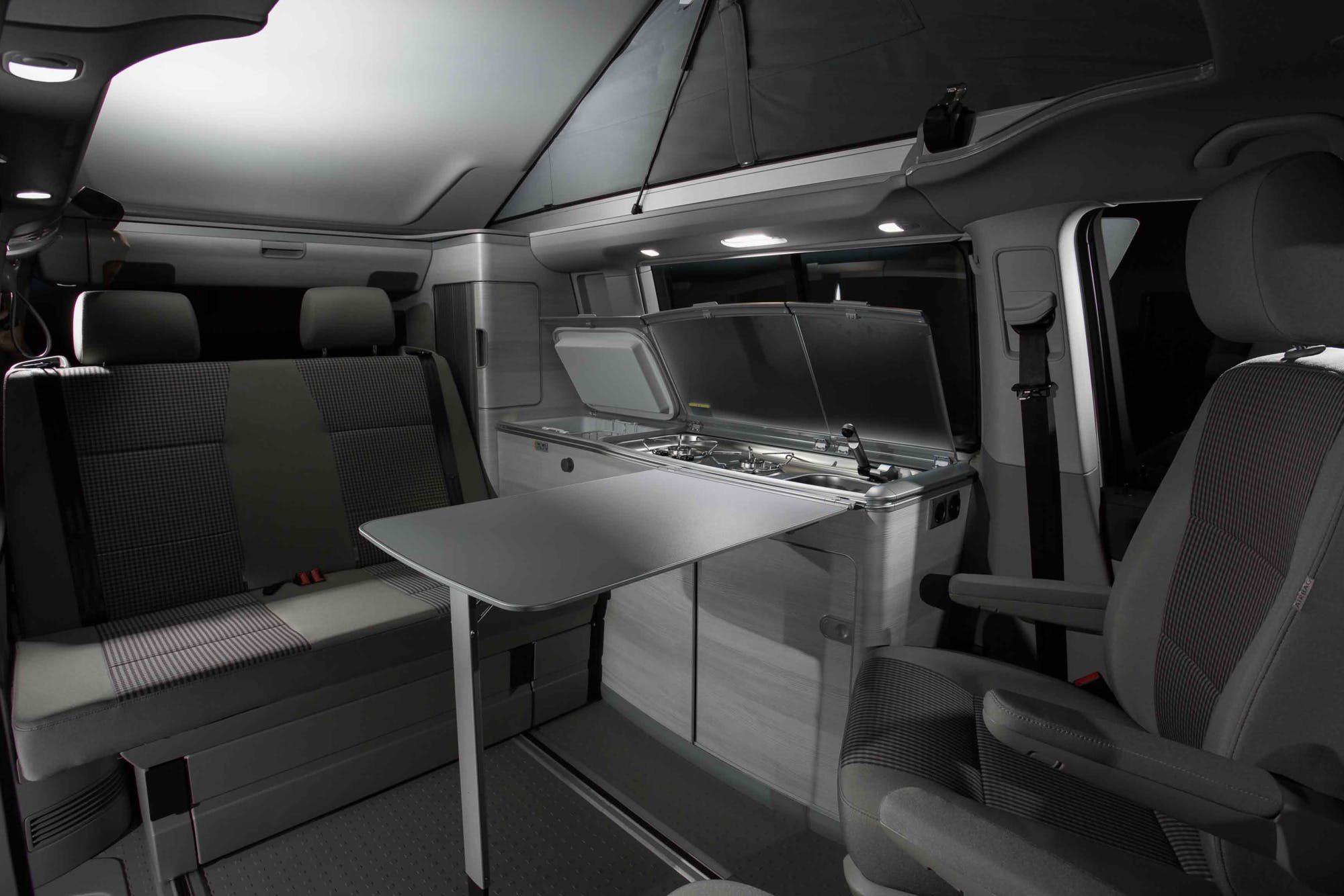 VW California Model interior with kitchen