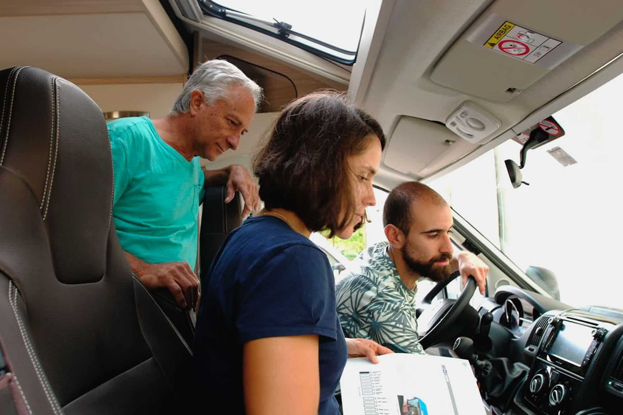 A family renting a campervan