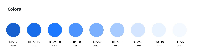 blue palette in HSL
