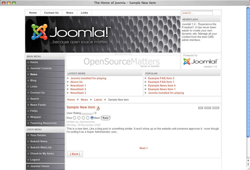 A Joomla screen
