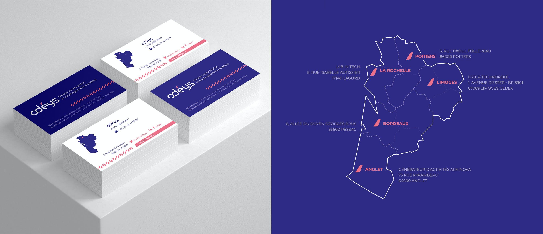 Odéys, déclinaison de la charte graphique sur supports print