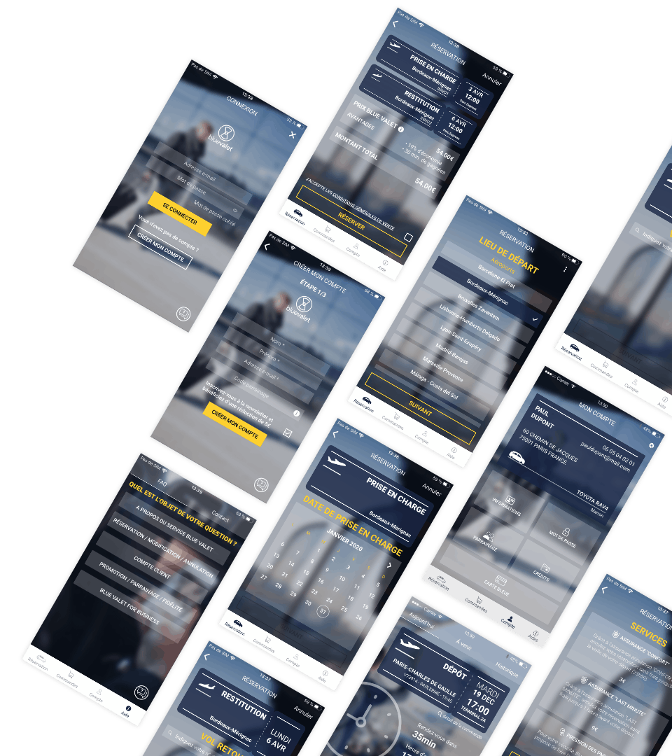 Blue Valet, Applications mobiles clients