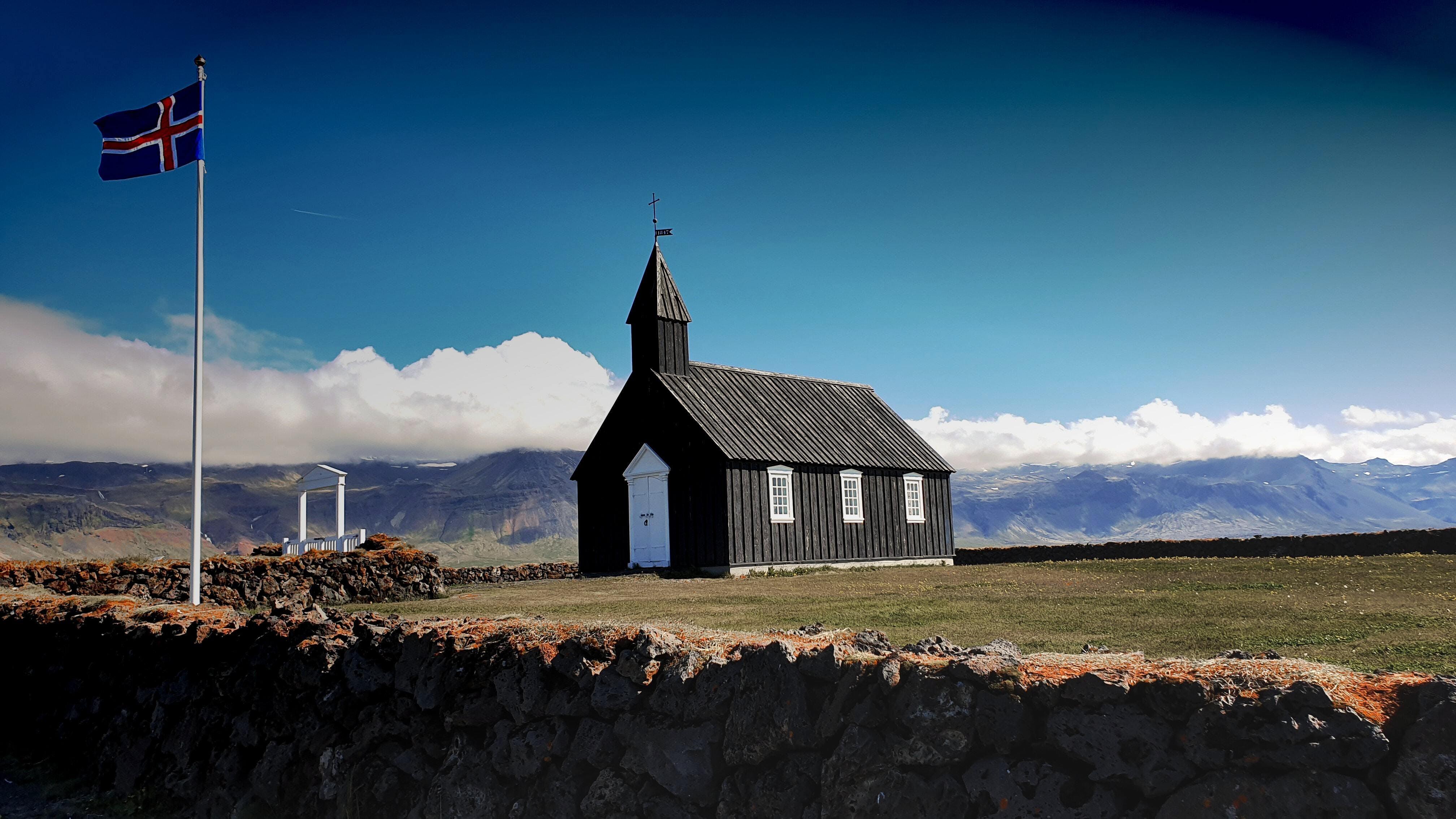 Búðir church with the Icelandic flag