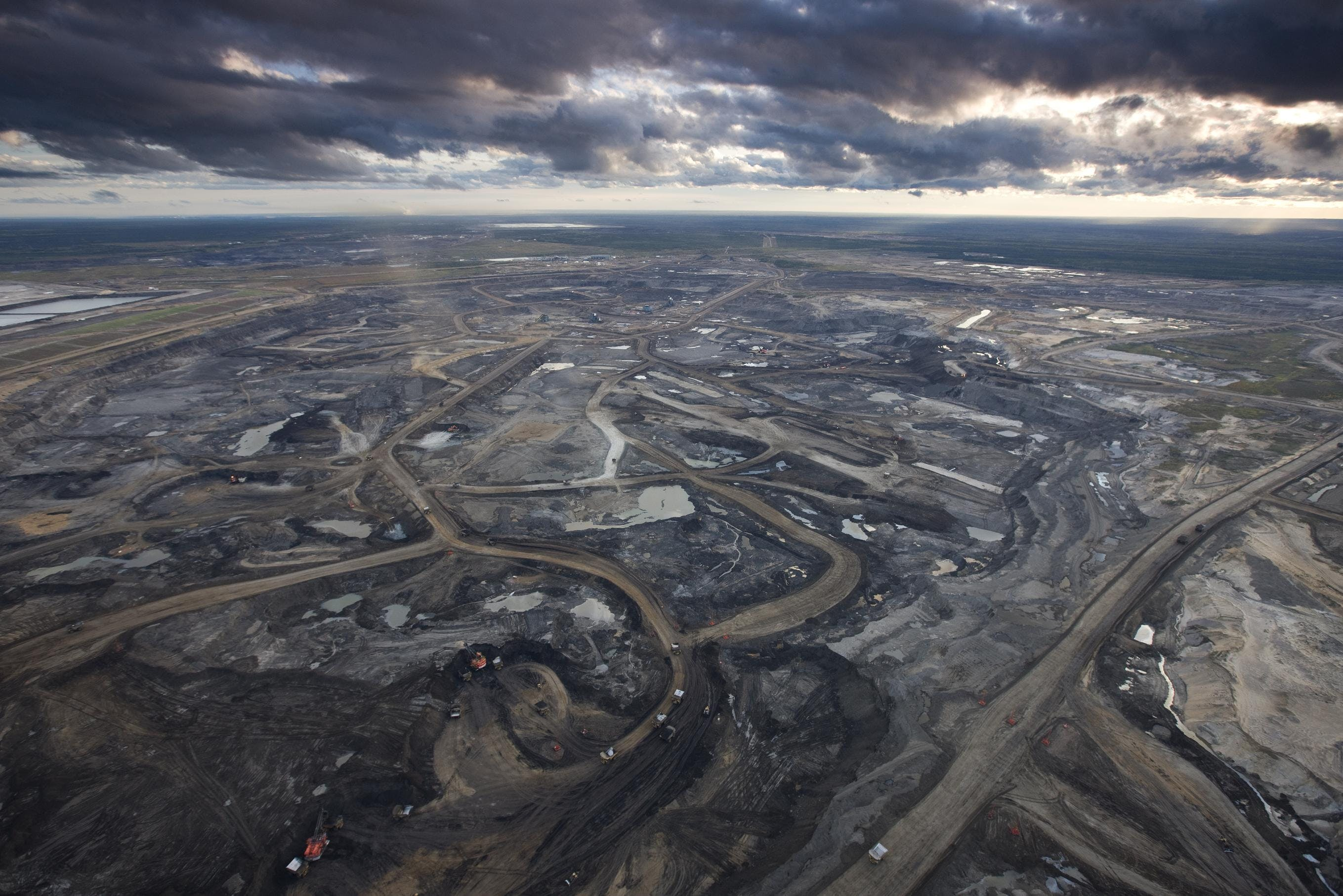 The polluted wasteland created by extracting the most polluting of all fossil fuels - tar sands.