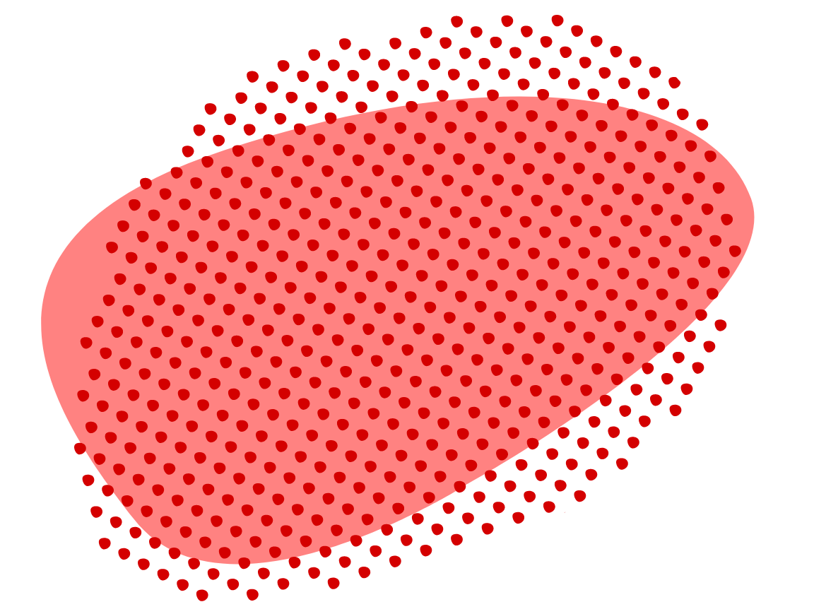 red dotted shape