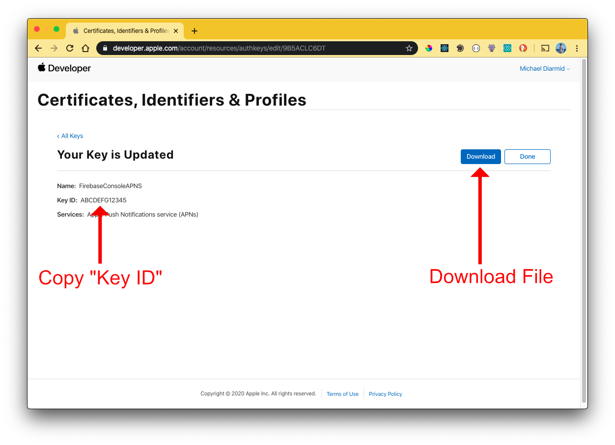 Copy Key ID & Download File