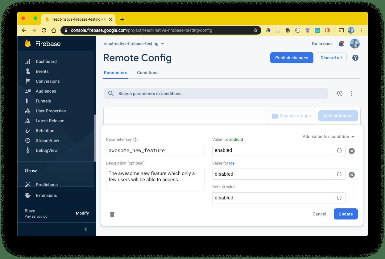 Firebase Console - Remote Config
