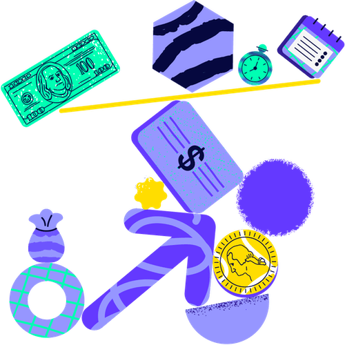 Ilustración con elementos de inversiones faciles en equilibrio