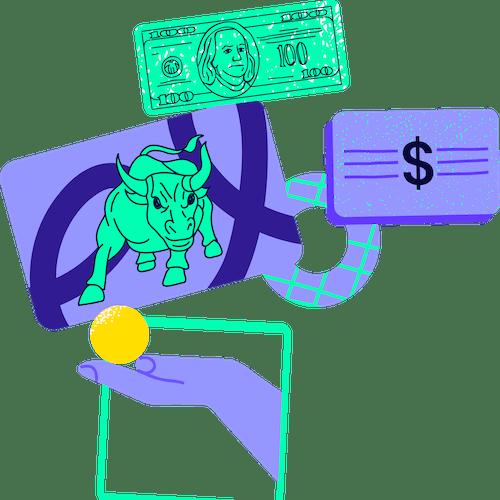 Ilustración con elementos de inversiones avanzadas en equilibrio