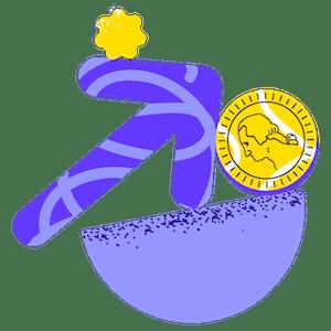 Ilustración de crecimiento, monedas y balance