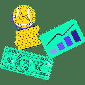 Ilustración de monedas, dólares y gráficos