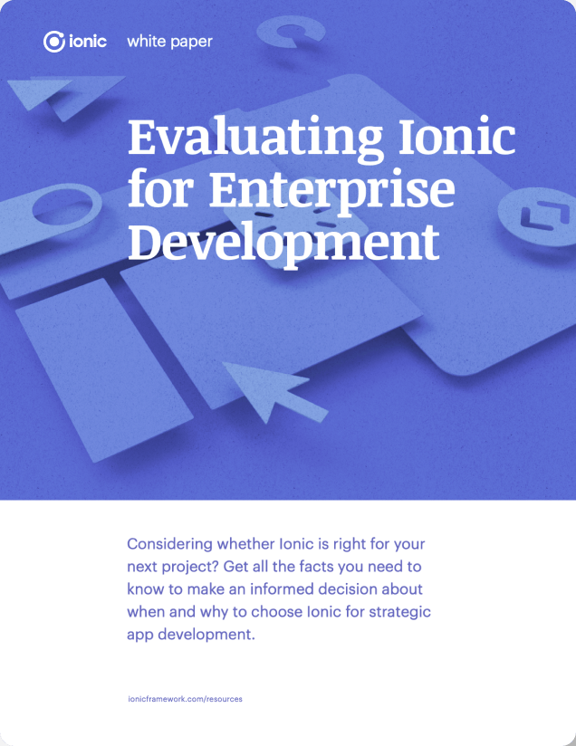 """Book cover with title """"Evaluating Ionic for Enterprise Development"""""""