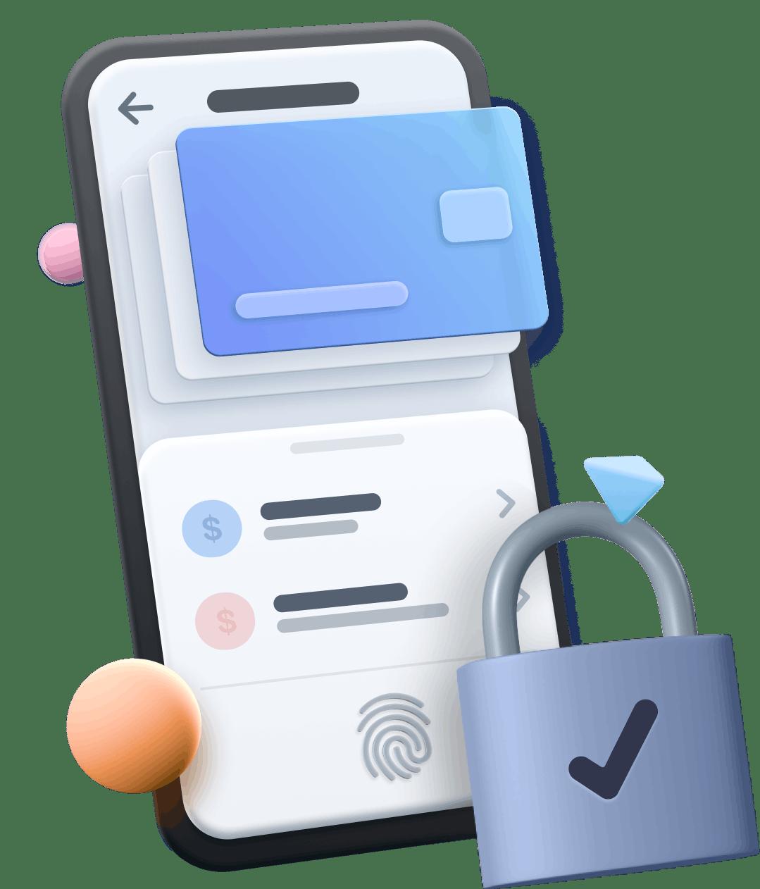 cartoon phone with lock