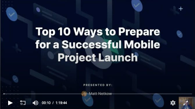 Black card that reads Top 10 Ways for Prepare for a Successful Mobile Project Launch