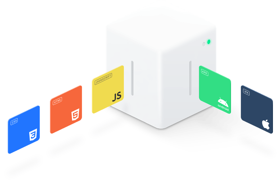 Programming Language tiles going into box and coming out as app icons