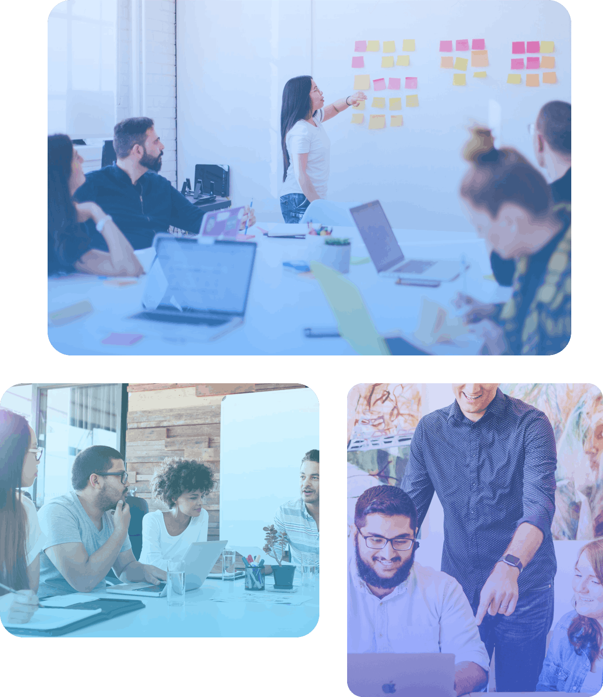 Three images showing people in meetings
