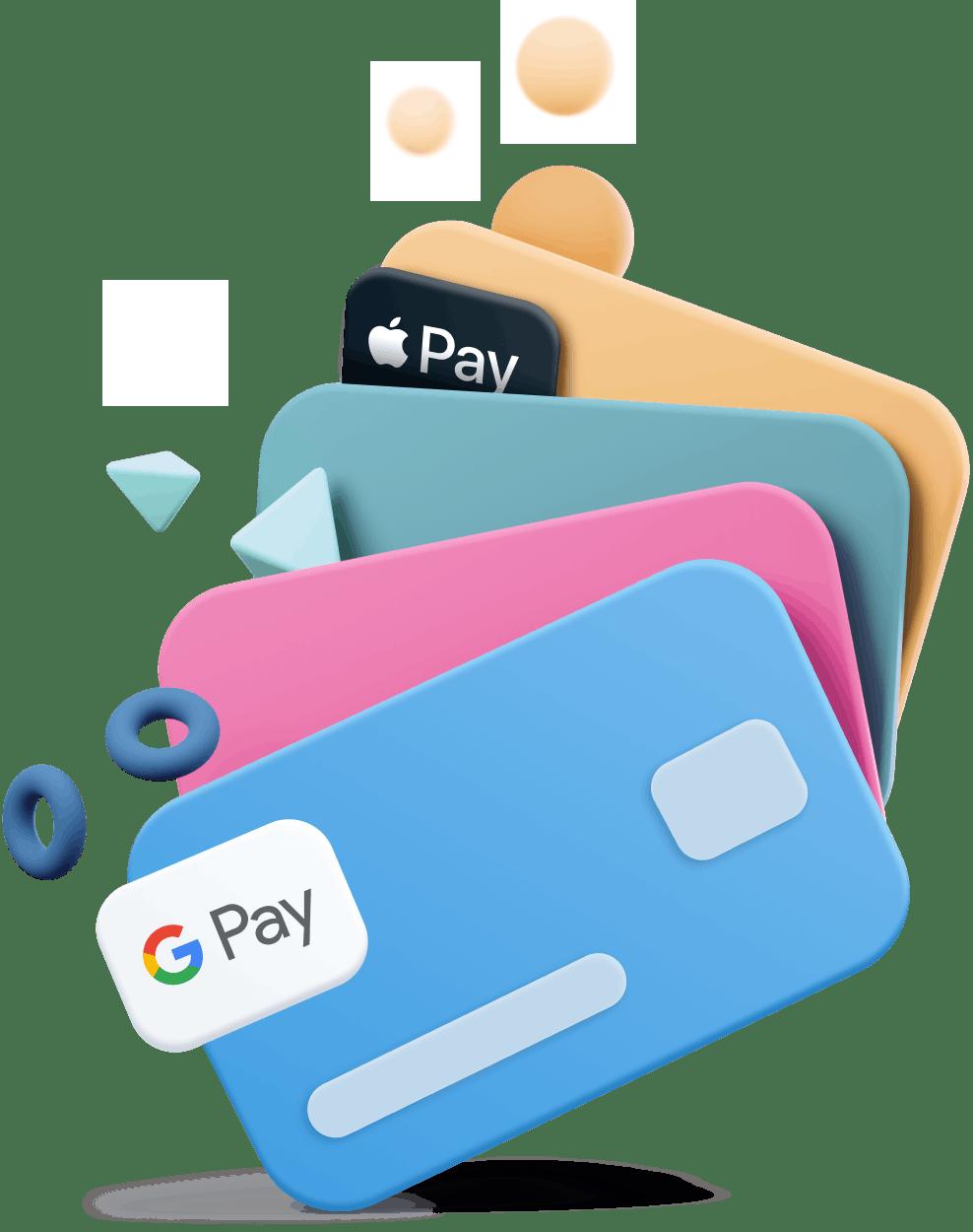 credit card stack cartoon