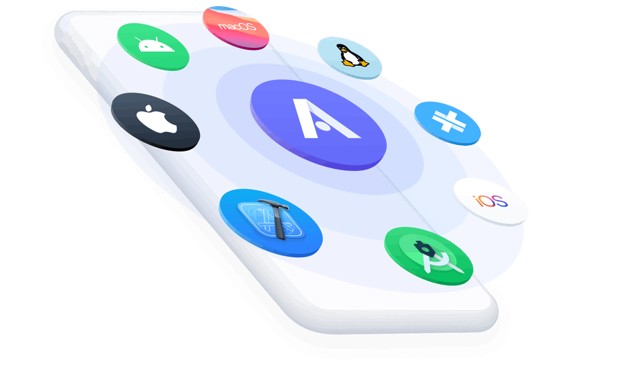Appflow icon surrounded by app icons