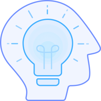 Head with lightbulb icon