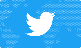 twitter logo in front of world map