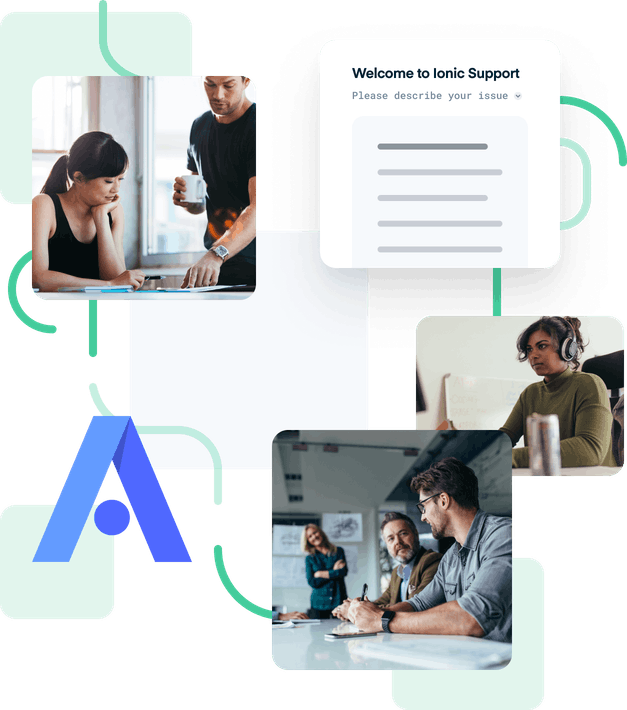 Two images of people talking and another of someone working.  A title says 'Welcome to Ionic Support'