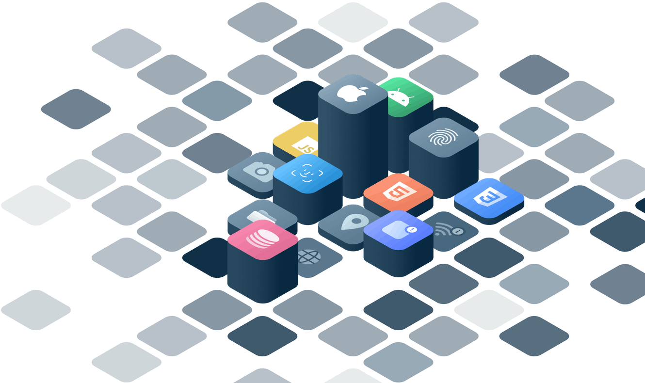 raised platforms with app and company icons