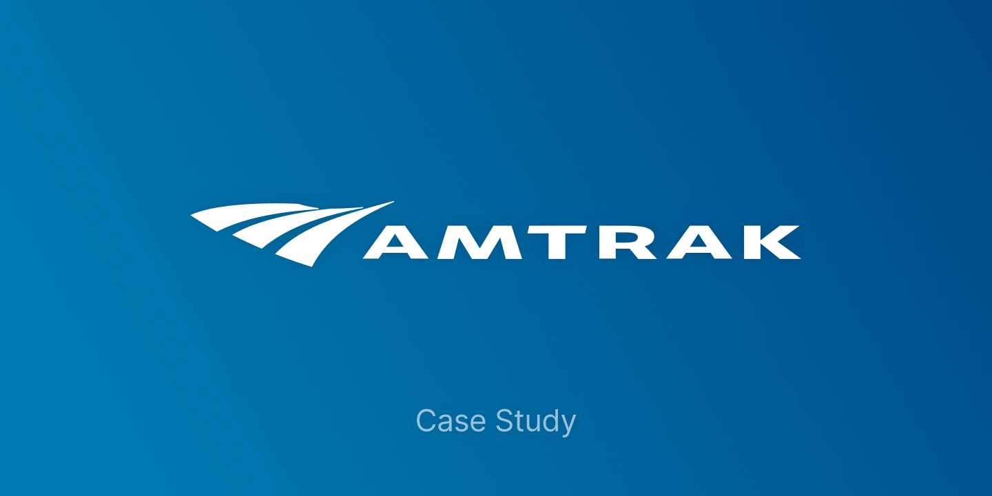 Amtrak logo and text with 'case study' subtext