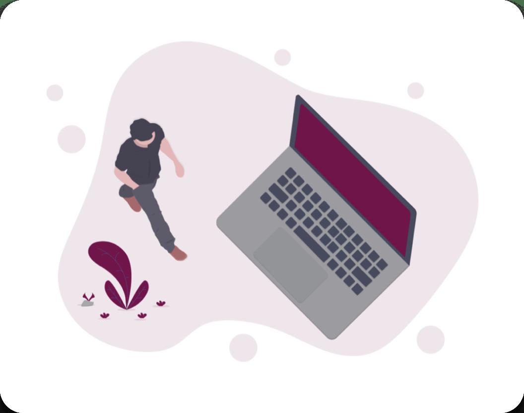 Cartoon of man and laptop
