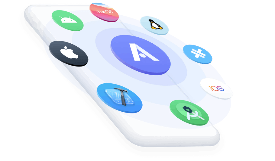 Appflow logo surrounded by app icons