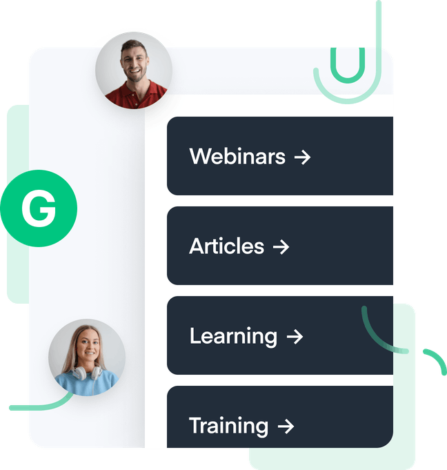 """A bubble of a man and a woman and tabs saying, """"Webinars"""", """"Articles"""", """"Learning"""", """"Training"""""""