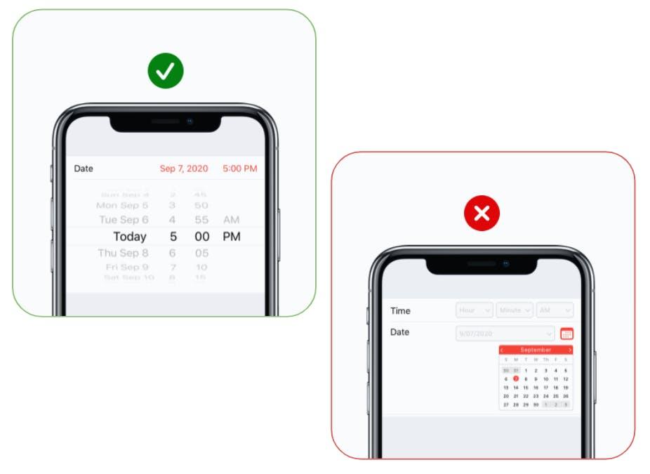 Touch controls - desktop vs mobile calendar
