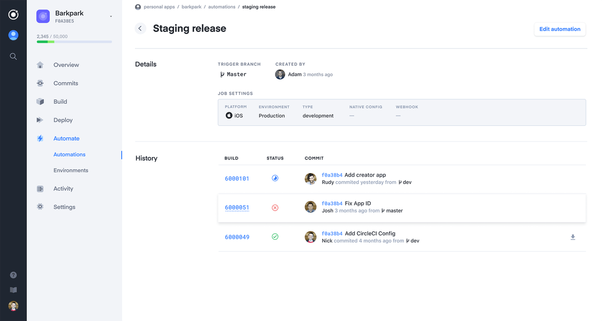 """Appflow screen with title """"Staging release"""""""