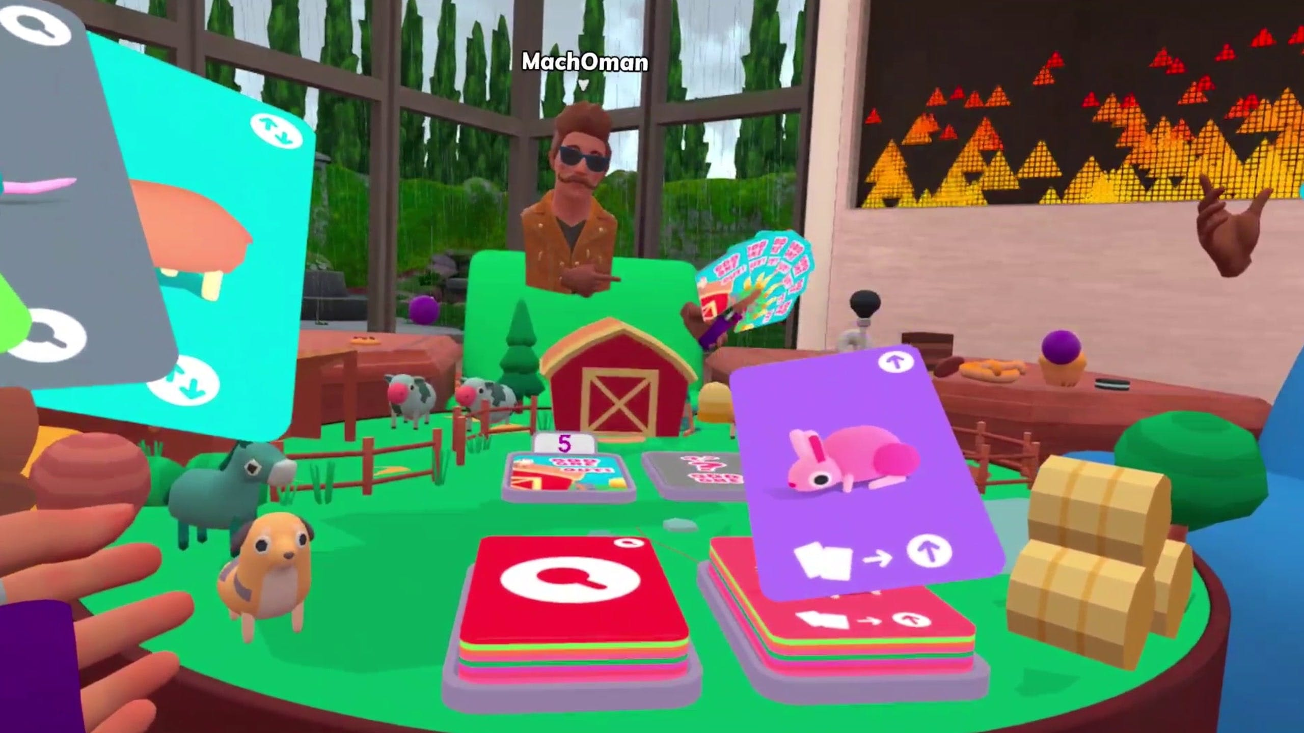 Cartoonish virtual reality with two players holding cards at a table covered in a tiny farm with animals