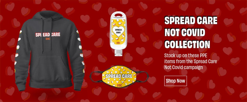 Spread care, not covid merchandise. including a sweatshirt, a hand sanitizer dispenser, and a mask.