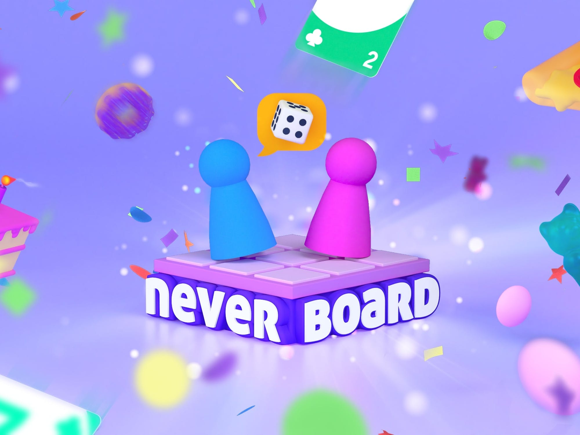 """A colorful logo filled with pawns and dice and cards. Logo reads """"Neverboard"""""""