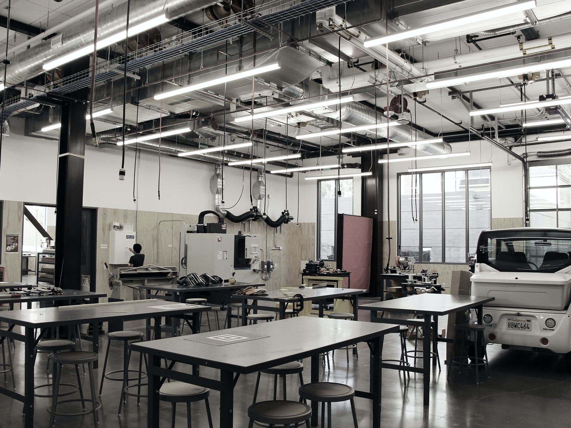 An empty industrial makerspace