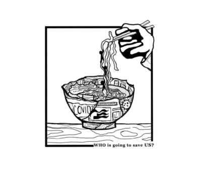 A recent project of Haley's. A drawing of a ramen bowl made from news articles.