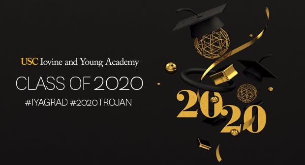 Black and gold postcard with words Class of 2020