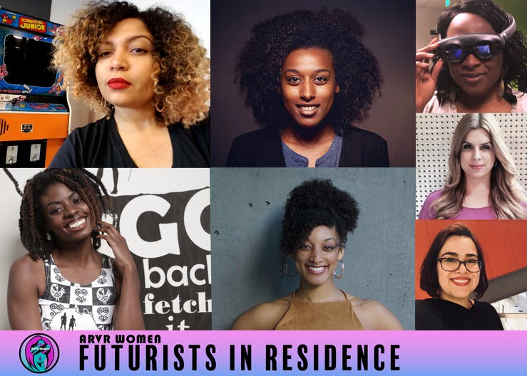 """A collage of women, a majority black women. A label reads """"futurists in residence"""""""