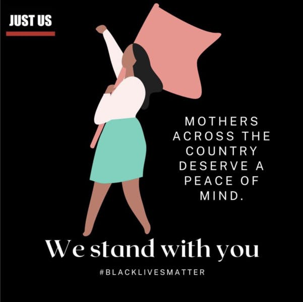 """A graphic of a black woman holding a flag. Text reads """"Mothers across the country deserve peace of mind. We stand with you"""""""