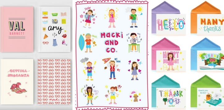 """Cards and stationary with light, bright colors. A """"Macki and Co"""" label is visible"""