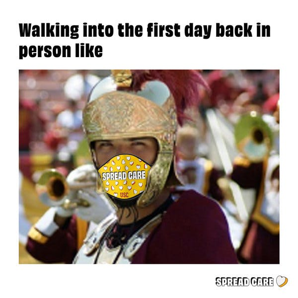 """A meme about going back to school. With someone wearing armor and a mask and the description """"walking into the first day back in person like"""""""