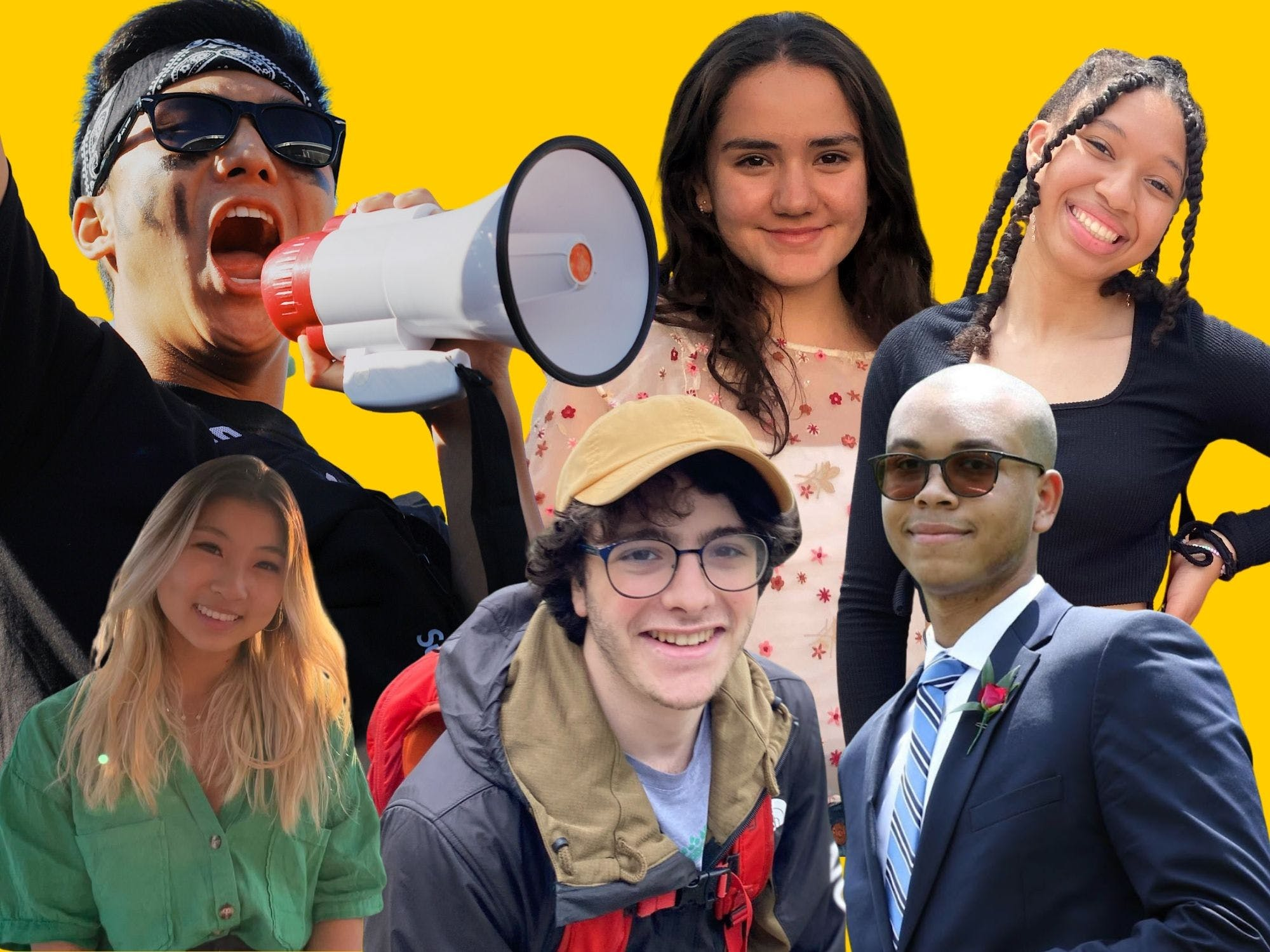 Six young people on a yellow background. From left to right: a man in sunglasses yelling into a megaphone; a woman smiling wearing floral blouse; woman with long braids, tilted head smiling wide; woman with blonde hair and green top; male with glasses, beige cap, and rain jacket; bald male with sunglasses, blue suit and striped tie