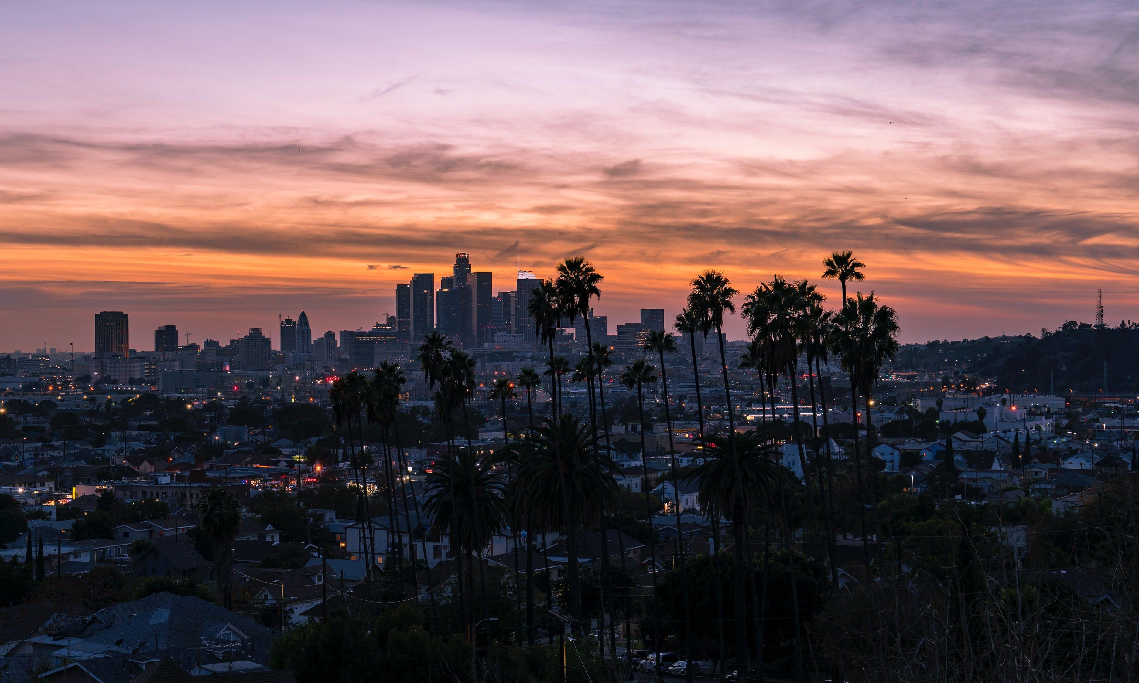 LA skyline at sunset