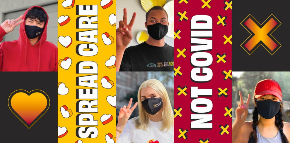"""The """"spread care, not covid"""" banner. with students holding up peace signs."""