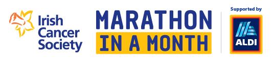 Irish Cancer Society Marathon in a month logo supported by ALDI.