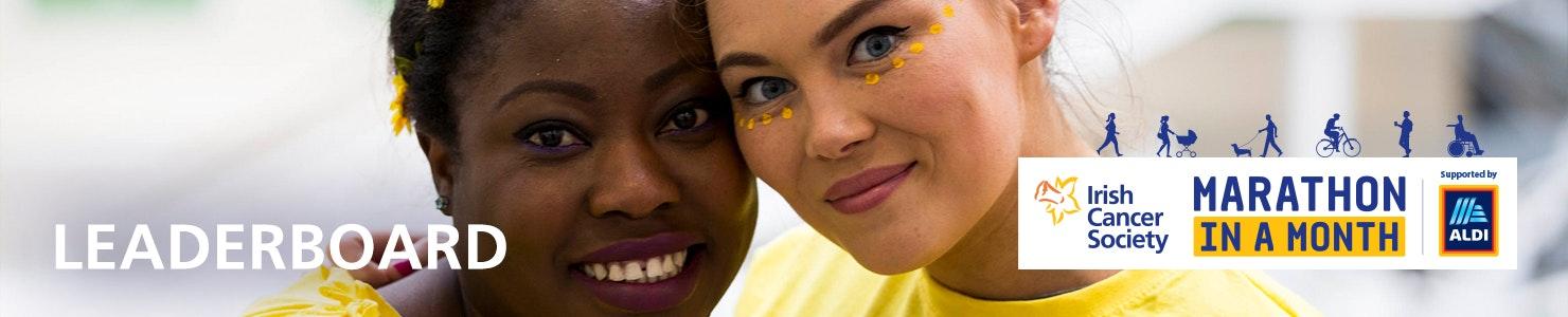 Irish Cancer Society Marathon in a Month Leaderboards header banner