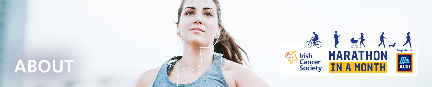 Close up of a woman running with headphones in - 'About' page title on the left and Marathon in a Month logo on  the right