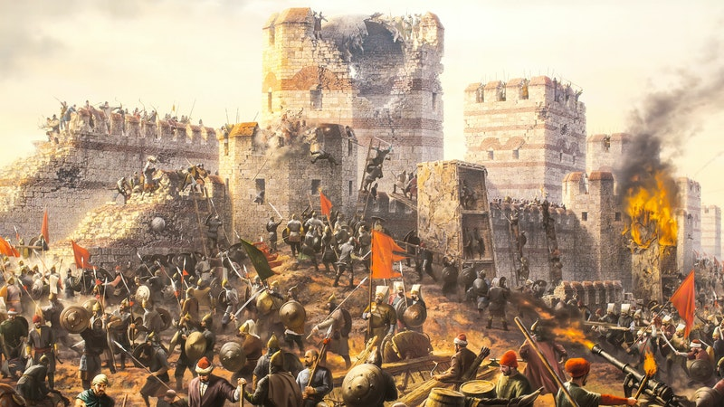Artist depiction of the Fall of Constantinople